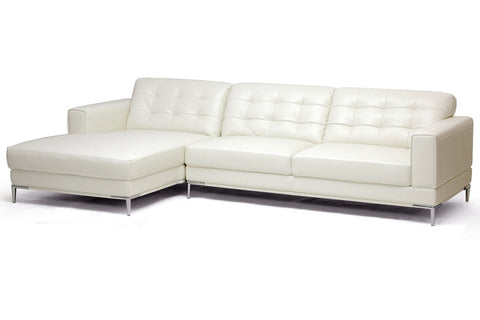 Baxton Studio Babbitt Ivory Modern Leather Sectional Sofa