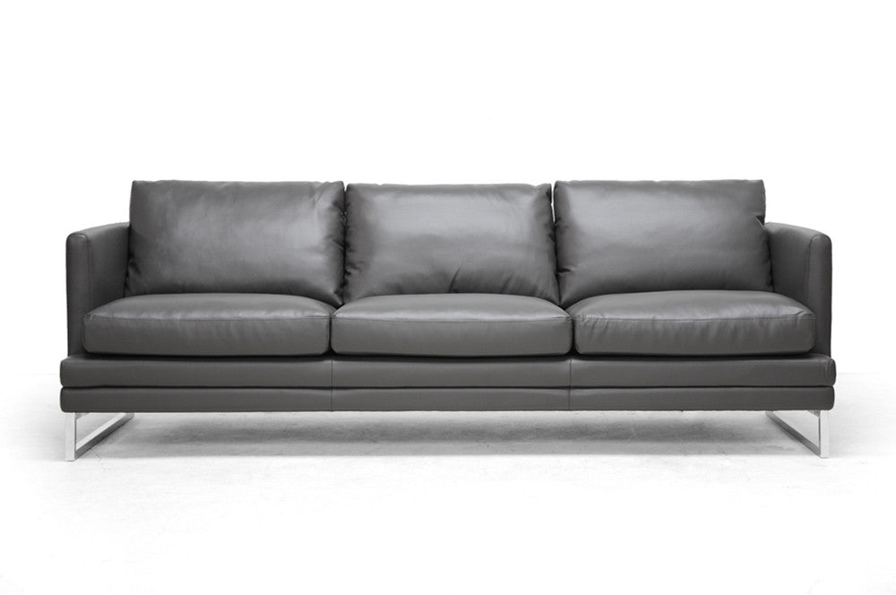 Baxton Studio Dakota Pewter Gray Modern Bonded Leather Sofa