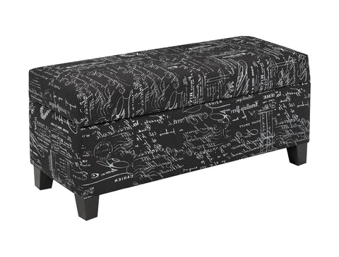 Storage Ottoman Scripted Fabric