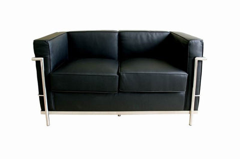 Baxton Studio Black Le Corbusier Petite Loveseat