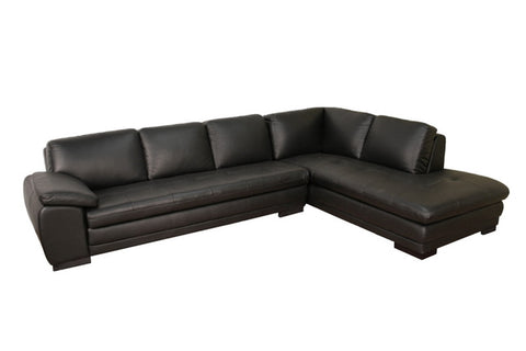 Baxton Studio Black Sectional Leather Corner Sofa