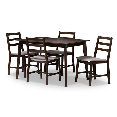 BAXTON STUDIO NADINE MODERN AND CONTEMPORARY WALNUT-FINISHED LIGHT GREY FABRIC UPHOLSTERED 5-PIECE DINING SET