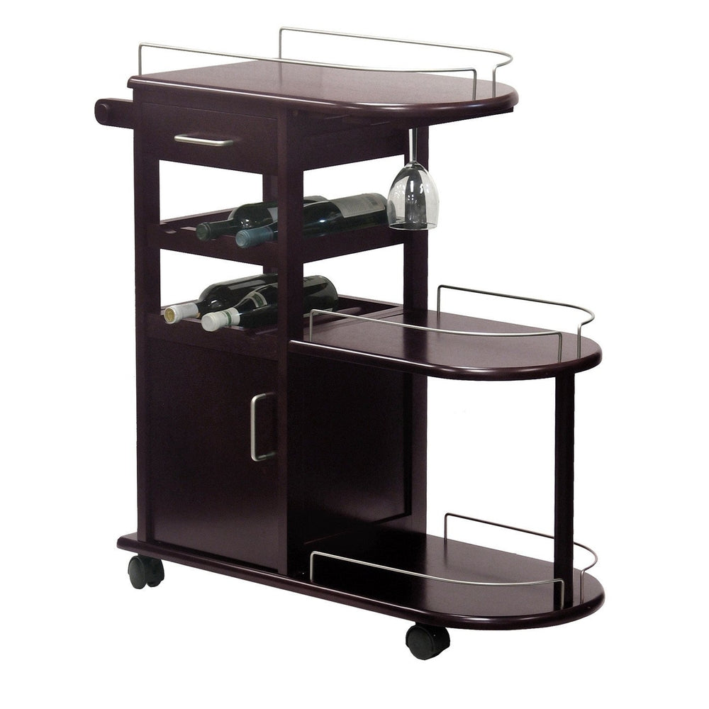 ENTERTAINMENT CART, GLASS RACK, CABINET, DRAWER