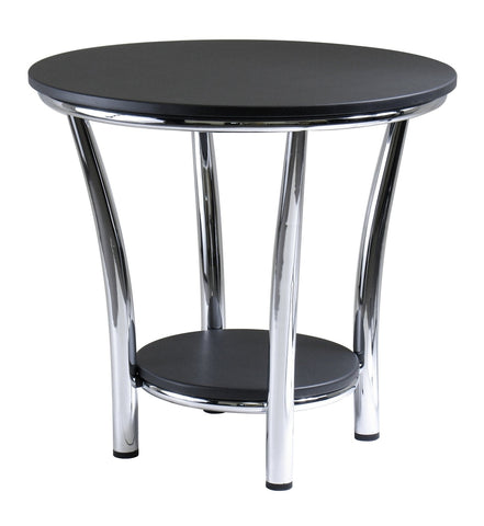 MAYA ROUND END TABLE WITH BLACK TOP AND METAL LEGS