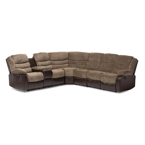 BAXTON STUDIO ROBINSON BROWN FABRIC AND FAUX LEATHER SECTIONAL RECLINER SOFA