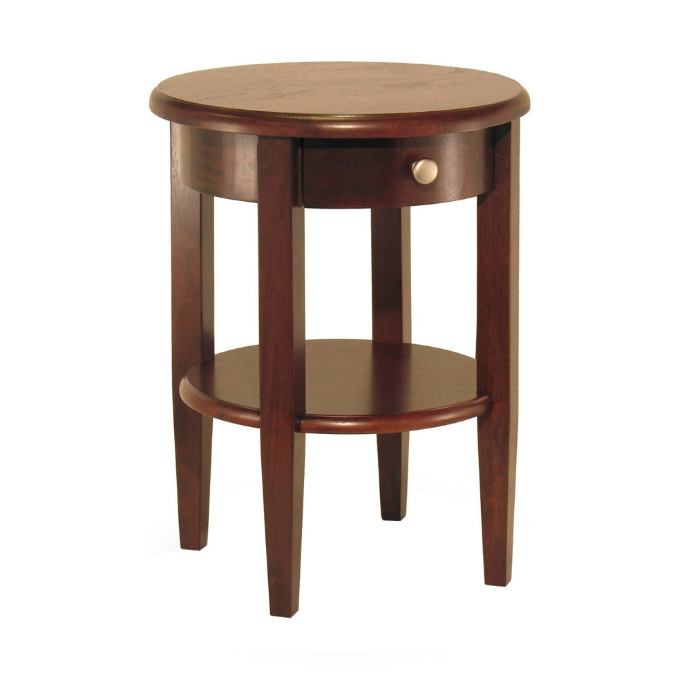 CONCORD ROUND END TABLE WITH DRAWER AND SHELF