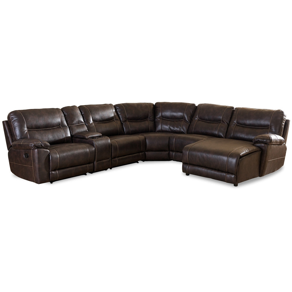 Baxton Studio Mistral 6 Piece Sectional Dark Brown Bonded Leather Reclining  Sofa Set