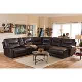 Baxton Studio Mistral 6-Piece Sectional Dark Brown Bonded Leather Reclining Sofa Set