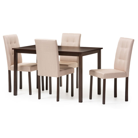Baxton Studio Andrew Modern and Contemporary 5-Piece Beige Fabric Upholstered Grid-Tufting Dining Set