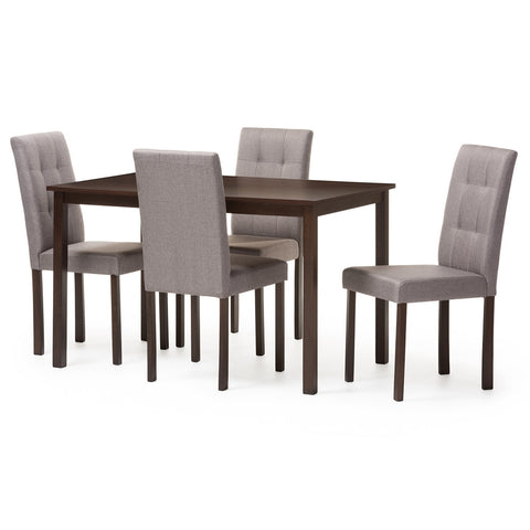 Baxton Studio Andrew Modern and Contemporary 5-Piece Grey Fabric Upholstered Grid-Tufting Dining Set