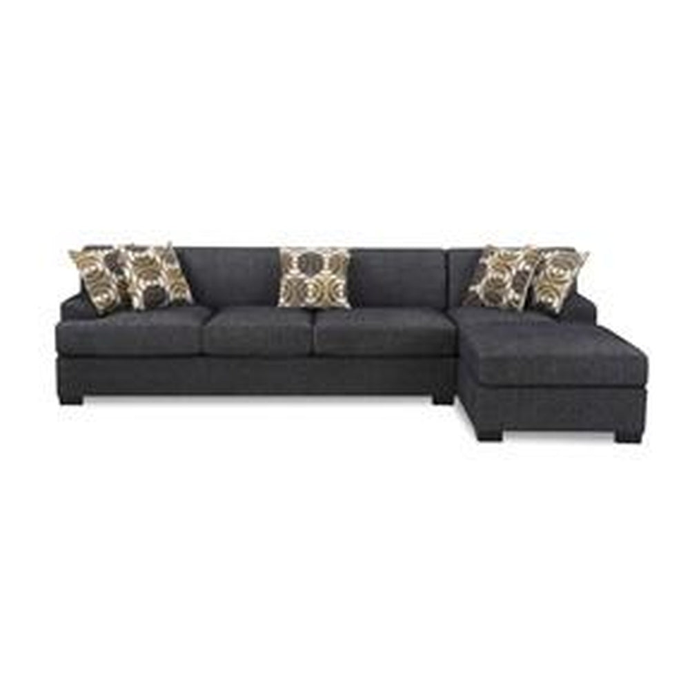 CONTEMPORARY REVERSIBLE SECTIONAL BLACK FABRIC SOFA