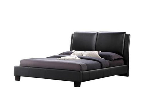 SABRINA BLACK MODERN BED WITH OVERSTUFFED HEADBOARD - QUEEN SIZE