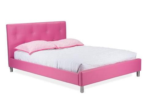 Baxton Studio Barbara Pink Leather Modern Full Size Bed with Crystal Button Tufting