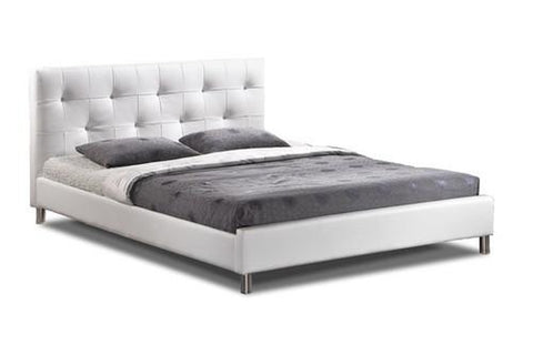 Barbara White Modern Bed with Crystal Button Tufting - Queen Size