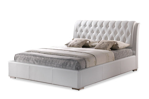 BIANCA WHITE MODERN BED WITH TUFTED HEADBOARD - QUEEN SIZE