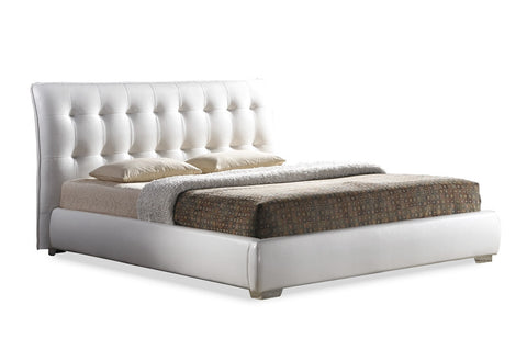 Baxton Studio Jeslyn White Modern Bed with Tufted Headboard - King Size