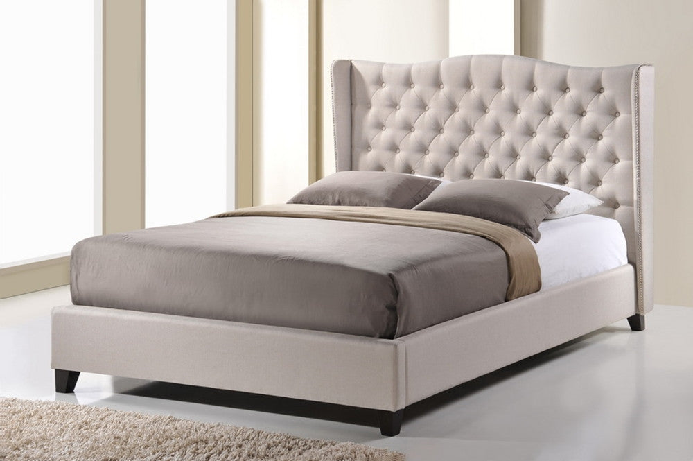 Baxton Studio Norwich Light Beige Linen Modern Platform Bed - Queen Size