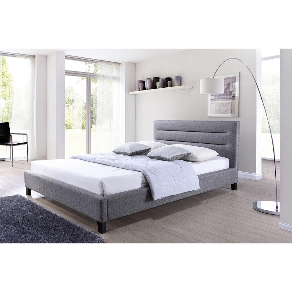 Baxton Studio Hillary Modern and Contemporary King Size Grey Fabric ...