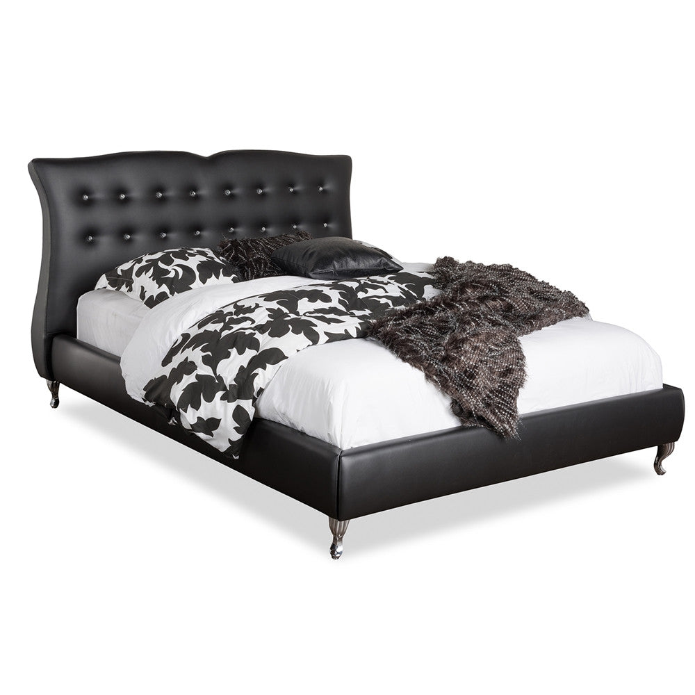 Baxton Studio Erin Modern and Contemporary Black Faux Leather King Size Platform Bed