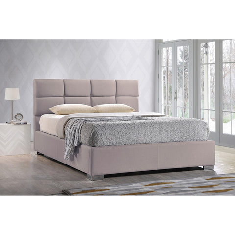 BAXTON STUDIO SOPHIE MODERN AND CONTEMPORARY BEIGE FABRIC UPHOLSTERED KING SIZE PLATFORM BED