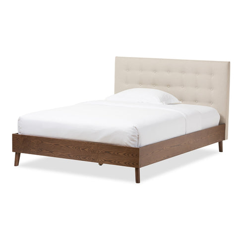 Baxton Studio Alinia Mid-Century Retro Modern Light Beige Fabric Upholstered Walnut Wood Queen Size Platform Bed