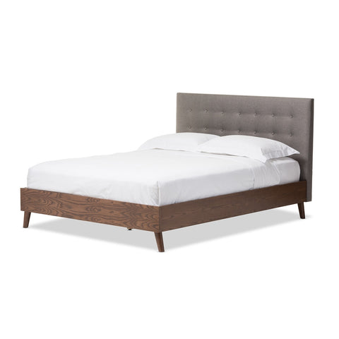 Baxton Studio Alinia Mid-Century Retro Modern Grey Fabric Upholstered Walnut Wood Queen Size Platform Bed