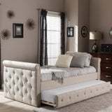 BAXTON STUDIO SWAMSON MODERN AND CONTEMPORARY BEIGE FABRIC TUFTED TWIN SIZE DAYBED WITH ROLL-OUT TRUNDLE GUEST BED