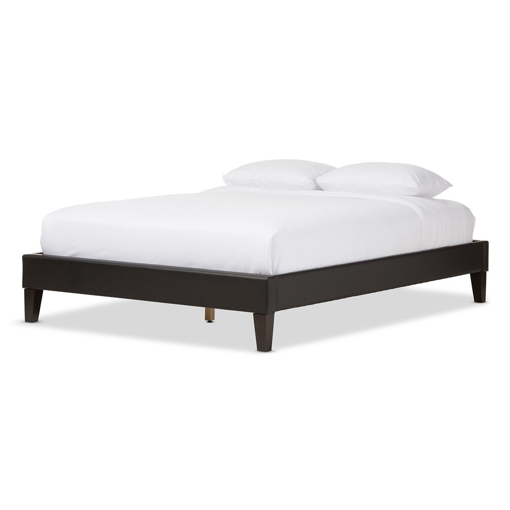 Baxton Studio Lancashire Modern and Contemporary Black Faux Leather Upholstered Full Size Bed Frame with Tapered Legs