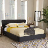Baxton Studio Camden Mid-Century Modern Dark Grey Fabric Upholstered Full Size Platform Bed