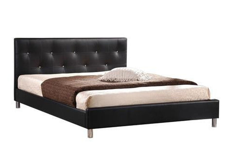Barbara Black Modern Bed with Crystal Button Tufting - Queen Size