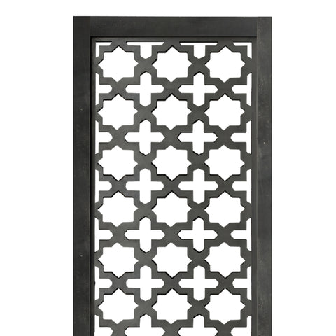 Rectangular Mango Wood Wall Panel with Cutout Lattice Pattern, Burnt Black