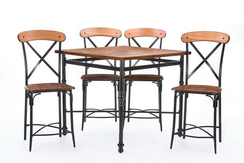 Baxton Studio Broxburn Light Brown Wood & Metal 5-Piece Pub Set