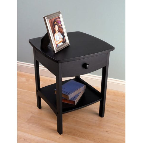 CURVED END TABLE NIGHTSTAND BLACK