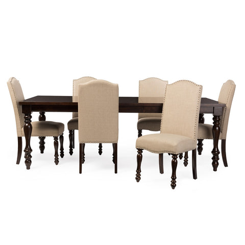 BAXTON STUDIO ZACHARY CHIC FRENCH VINTAGE OAK BROWN 7-PIECE DINING SET WITH 72-INCH EXTENDABLE TOP DINING TABLE
