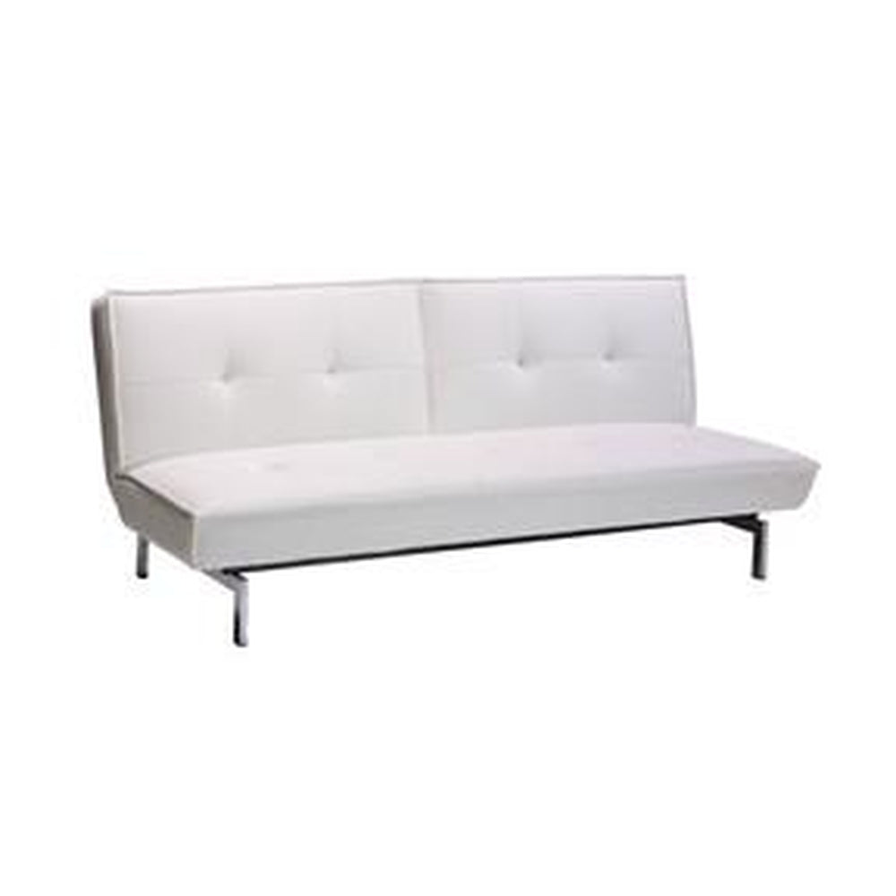 MODERN FUTON SLEEPER SOFA BED IN WHITE FAUX LEATHER