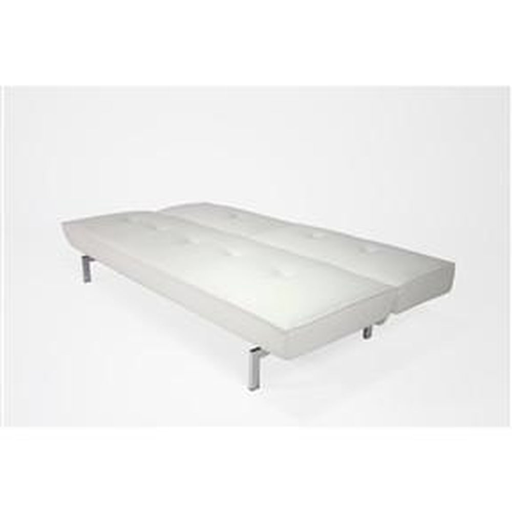 Modern Futon Sleeper Sofa Bed In White Faux Leather Qolture