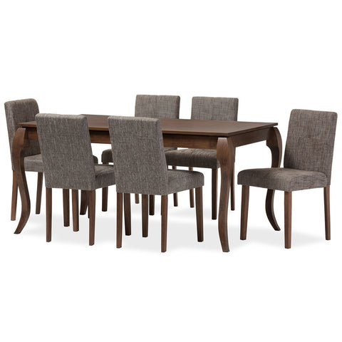 "Baxton Studio Elsa Mid-Century Modern ""Gravel"" Grey Fabric and Solid ""Walnut"" Brown Wood 7-Piece Dining Set"