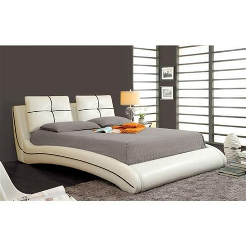 QUEEN SIZE MODERN CURVED UPHOLSTERED BED WITH PADDED HEADBOARD IN WHITE FAUX LEATHER
