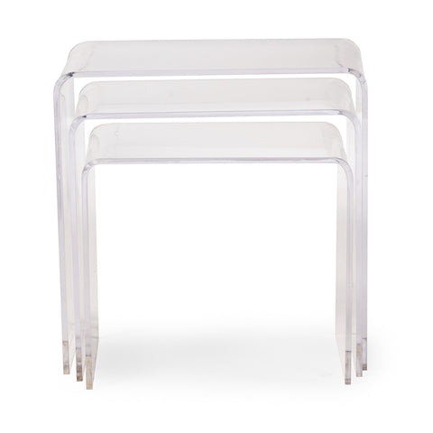 Baxton Studio Acrylic Nesting Table 3-Pc Table Set Display Stands