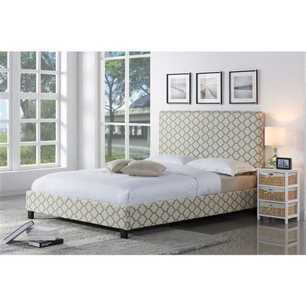 FULL SIZE UPHOLSTERED PLATFORM BED AND HEADBOARD WITH LATTICE SEAFOAM TRELLIS PATTERN