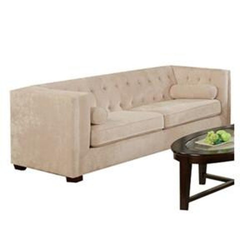 Almond Velvet Microfiber Button Tufted Fabric Sofa