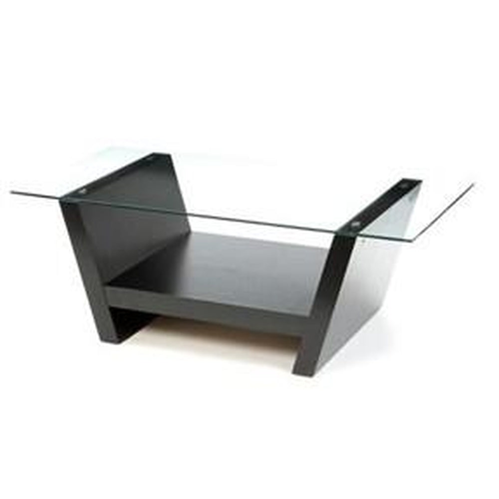 Charmant RECTANGULAR GLASS TOP COFFEE TABLE WITH BLACK WOOD BASE