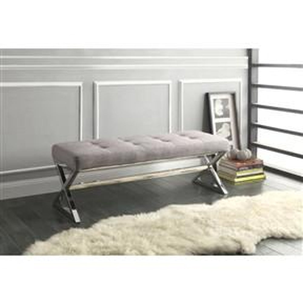 modern living room metal bench with button tufted grey linen seat