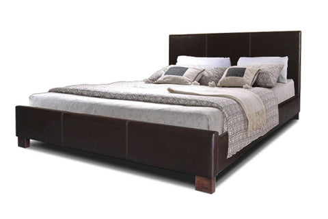 PLESS DARK BROWN MODERN BED - QUEEN SIZE