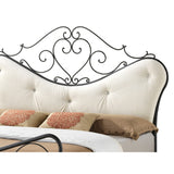 Baxton Studio Alanna Queen Size Shabby Chic Metal Platform Bed with Beige Tufted Headboard