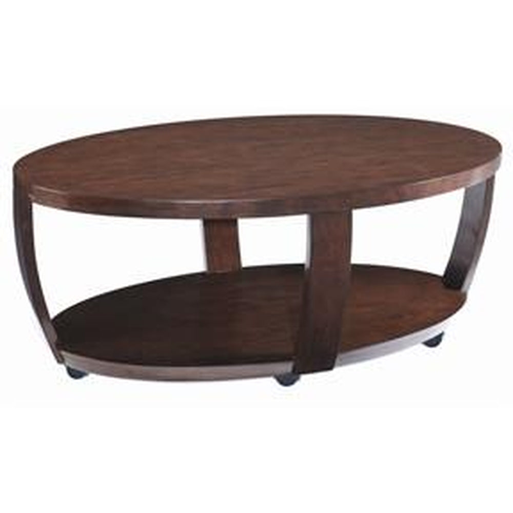 SOLID HARDWOOD OVAL MOBILE COFFEE TABLE WITH CASTERS