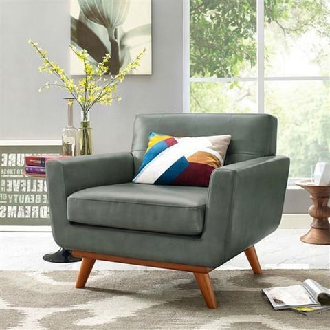 MODERN MID-CENTURY STYLE ARM CHAIR IN GRAY ECO LEATHER