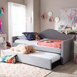 Baxton Studio Prime Modern and Contemporary Grey Fabric Upholstered Arched Back Sofa Daybed with Roll-Out Trundle Guest Bed