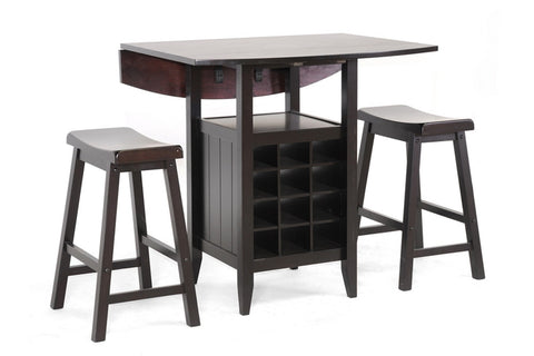 BAXTON STUDIO REYNOLDS BLACK WOOD 3-PIECE MODERN DROP-LEAF PUB SET WITH WINE RACK