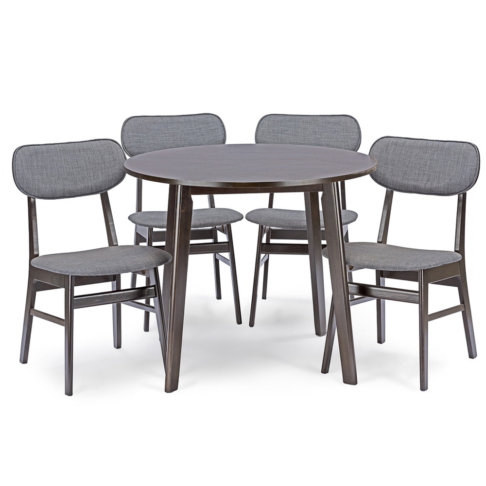 Baxton Studio Debbie Mid-Century Dark Brown Wood 5pc Dining Set
